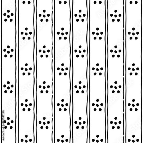 Fototapeta Seamless dots pattern. Seamless ethnic pattern. Fabric, textile, print. Handmade folk motive. Polka dot pattern. Russia ethnic vector background. obraz na płótnie
