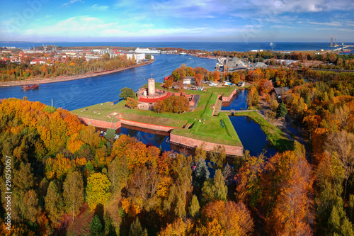 Wisloujscie fortress in autumnal scenery in Gdansk, Poland Canvas