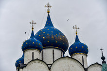 Blue Domes Of The Nativity Cathedral In Suzdal, Russia