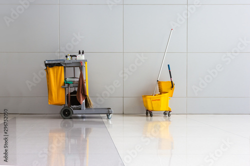Obraz na plátne cleaning equipment in hallway