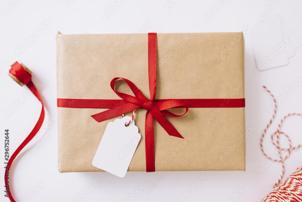Fototapety, obrazy: Big gift box with red ribbon