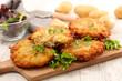 Leinwandbild Motiv homemade crispy potato galette with salad