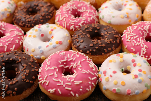 assorted of delicious icing donut Canvas Print