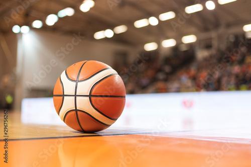 Basketball ball on the parquet.