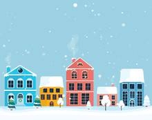 Winter Landscape. Winter Christmas Village. Colorful House