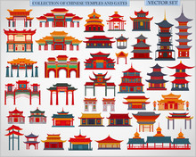 Set Of Chinese Temples, Gates ...