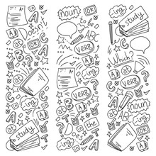 Language School For Adult And Kids. Pattern With Icons About English Learning.