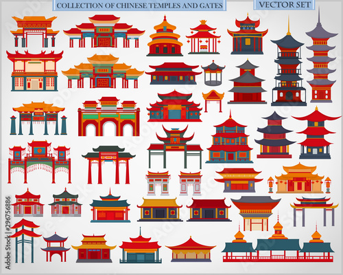 Obraz na plátně Set of Chinese temples, gates and traditional buildings on a light gray backgrou