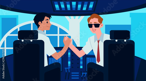 Airplane cockpit interior with cartoon captain and copilot shaking hands Tapéta, Fotótapéta