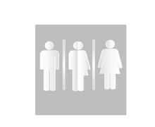 All Gender Symbols. Male, Female Transgender, Restroom Or Toilet Sign,  Paper Cut Style, Vector Illustration