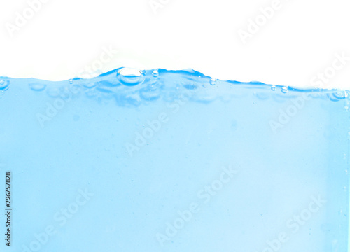 Recess Fitting Water clean blue water surface with air bubbles on white background