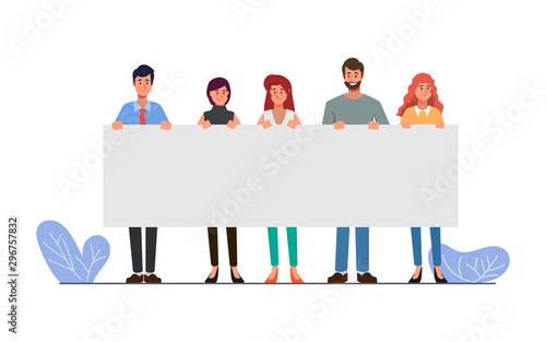 Group of business people teamwork holding big banner blank space character Canvas Print