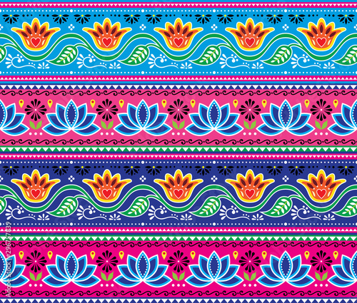 Fototapeta Pakistani or Indian truck art vector seamless pattern, floral cheerful design, D