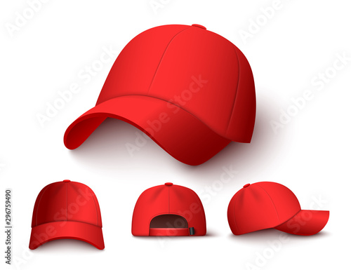 Carta da parati Bright red baseball cap mock up set from different angles