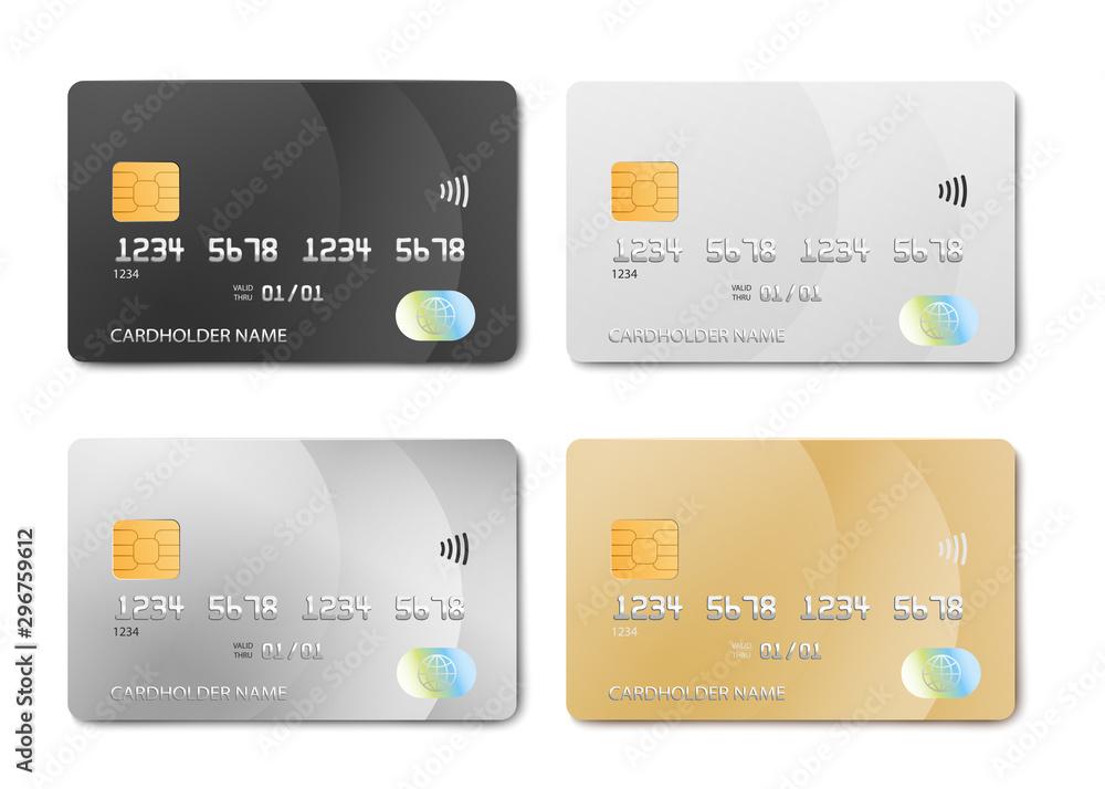 Fototapeta Plastic bank card design template set - isolated credit or debit cards mockup