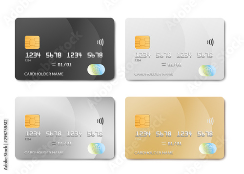 Fototapeta Plastic bank card design template set - isolated credit or debit cards mockup obraz