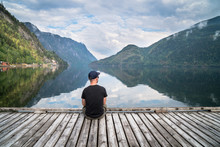 Man Looking On The Lake And Fjords