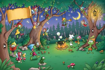 Niedliche Kobolde im Wald -...