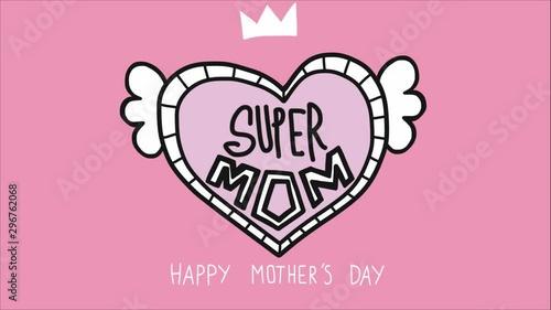 Fotografie, Obraz  Super Mom word in heart happy Mother's day