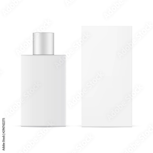 Perfume bottle with paper box mockup isolated on white background. Vector illustration Wall mural