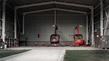 Hangar With Helicopters In Patagonia