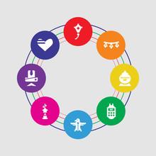 8 Colorful Round Icons Set Inc...