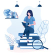 Beauty girl student sitting on pile of books. Female character reading book