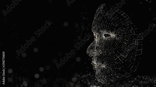 Fotomural  Human face consisting of luminous lines and dots