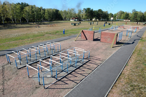 Valokuva  View of the obstacle course on training ground of the military base