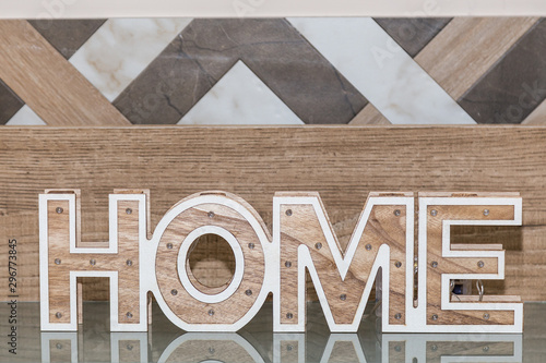 Fotografie, Obraz  Home, wooden text on vintage board background