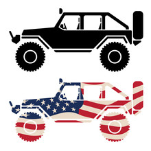 Off Road 4x4 Vehicle With USA Flag And Black Isolated Vector Illustration