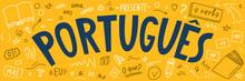 Portugues. Language Hand Drawn Doodles.