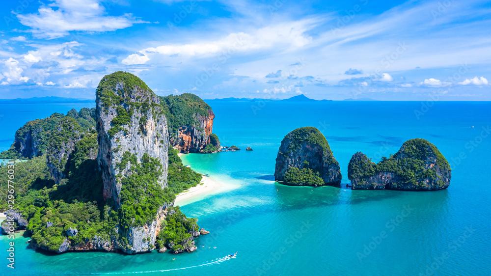 Fototapeta Aerial view Railay Beach and Phra Nang Cave Beach in beautiful bay in Krabi province, tropical coast with paradise beache, Krabi, Thailand.