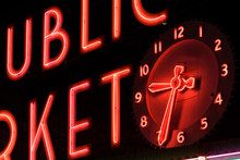 Neon Letters And Clock, Close ...