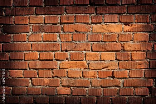Stampa su Tela  close up on a bricks wall