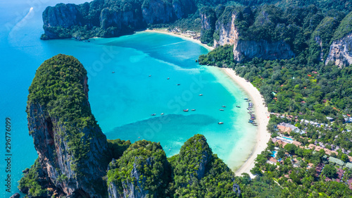Obraz Aerial view Railay Beach and Phra Nang Cave Beach in beautiful bay in Krabi province, tropical coast with paradise beache, Krabi, Thailand. - fototapety do salonu