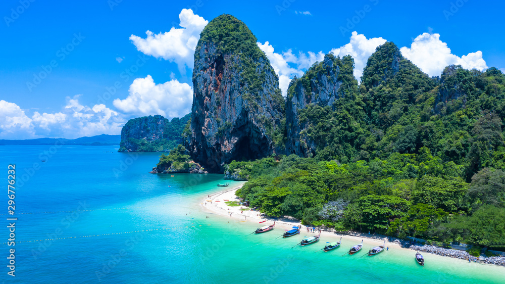 Fototapety, obrazy: Aerial view Phra Nang Cave Beach with traditional long tail boat on Ao Phra Nang Beach, Railay Bay, Krabi, Thailand.