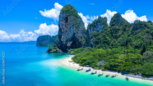 Fotografie, Obraz  Aerial view Phra Nang Cave Beach with traditional long tail boat on Ao Phra Nang Beach, Railay Bay, Krabi, Thailand