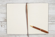 Blank Brown Journal With Pen O...