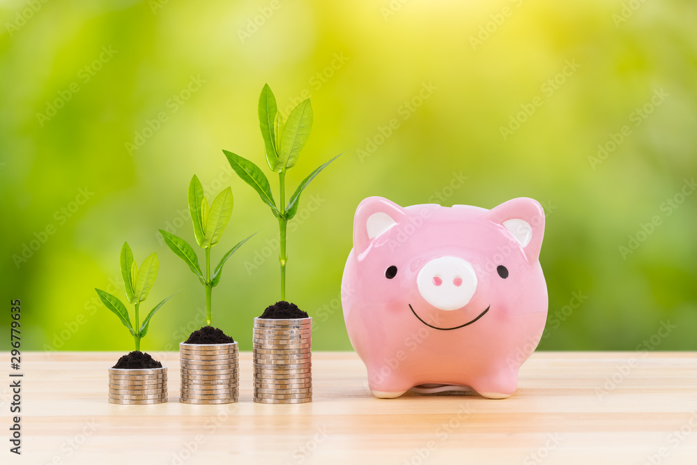 Fototapety, obrazy: Piggy bank, coin stack, and growing leaves, on green tree background, saving concept