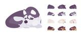 Fototapeta Fototapety na ścianę do pokoju dziecięcego - Black, White dog, Husky, Shepherd sleeping set. Pet, family companion, home guarding, farm or police security breed. Vector flat style cartoon illustration isolated, white background, different views