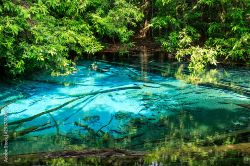 Fototapety, obrazy: Blue Pool, turquoise crystal clear spring in middle of forest, Krabi, Thailand