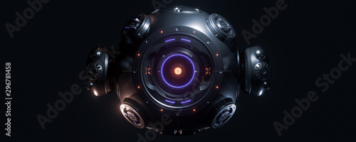 Photo Abstract concept of sci-fi sphere cyborg robot