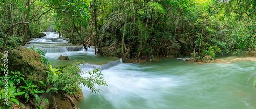Garden Poster Olive Huai Mae Khamin Waterfall level 1, Khuean Srinagarindra National Park, Kanchanaburi, Thailand, panorama