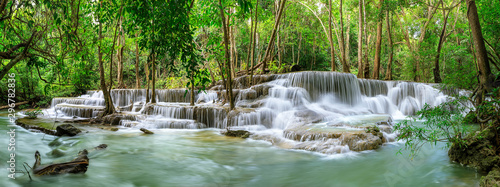 Wall Murals Forest river Huai Mae Khamin Waterfall level 6, Khuean Srinagarindra National Park, Kanchanaburi, Thailand; panorama