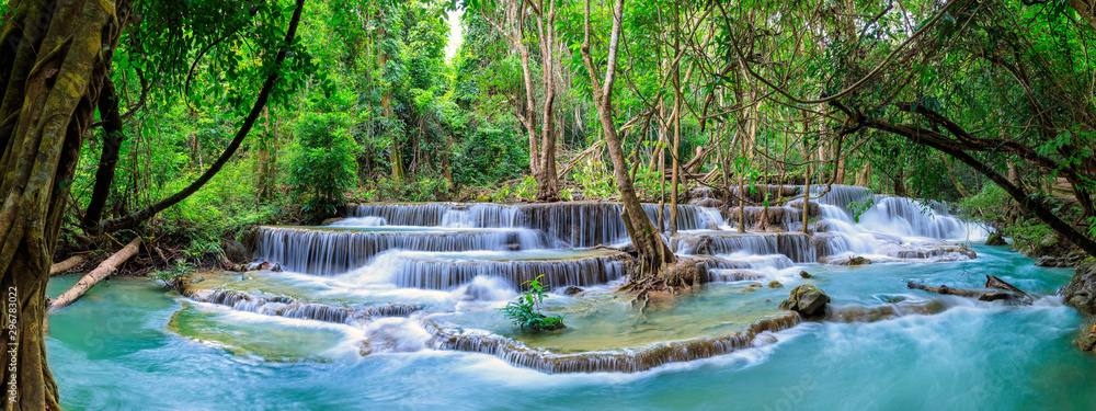 Fototapety, obrazy: Huai Mae Khamin Waterfall level 6, Khuean Srinagarindra National Park, Kanchanaburi, Thailand