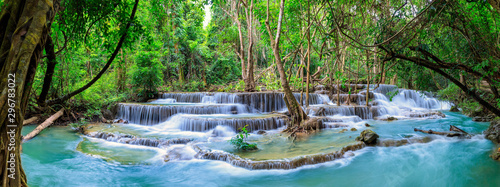 Wall Murals Forest river Huai Mae Khamin Waterfall level 6, Khuean Srinagarindra National Park, Kanchanaburi, Thailand