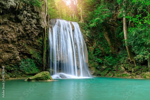 Photo Stands Waterfalls Waterfall cliff level 3, Erawan National Park, Kanchanaburi, Thailand