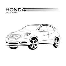 Honda Car Contour Model In Vec...