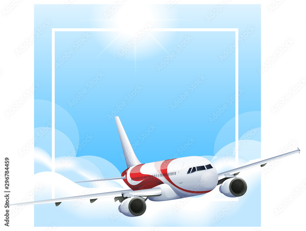 Border template with airplane flying in sky